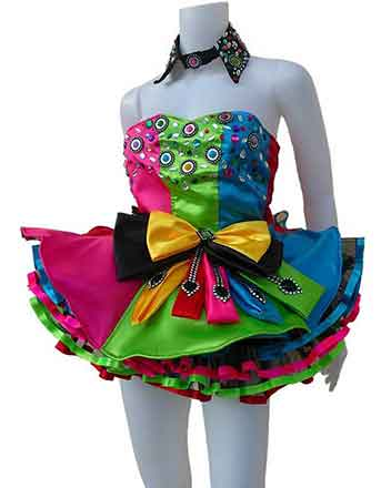 Rainbow dress eye catching for pageant girls and drum majors
