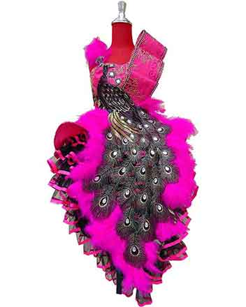 Exclusive girl pageant dress, drum-major dress in pink color with peacock