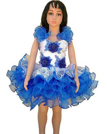Smart pageant dress drum major dress in blue with flowers