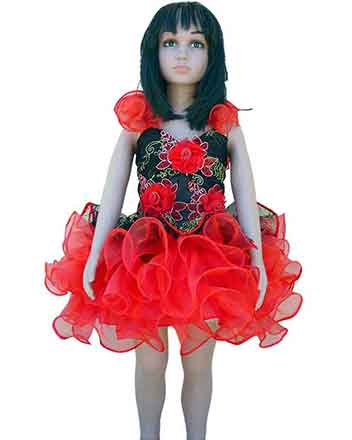 Cuddly red girls pageant dress also for drum majors