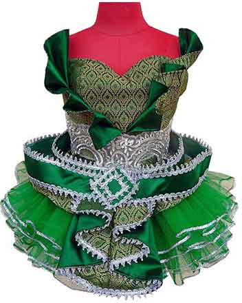 Eye catching design dress in Green for Pageant girls and Drum majors