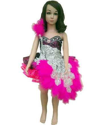 Pageant dress for girls in Pink with peacock