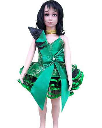 Pageant dress for girls in green and black, drum major dress