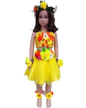 Lovely yellow pageant dress with flowers also for drum majors
